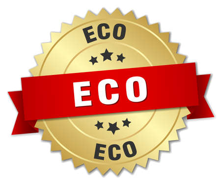 red seal: eco 3d gold badge with red ribbon