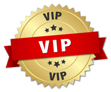 vip badge: vip 3d gold badge with red ribbon Illustration