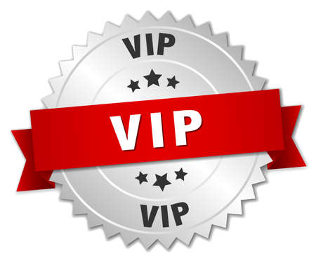 vip badge: vip 3d silver badge with red ribbon Illustration