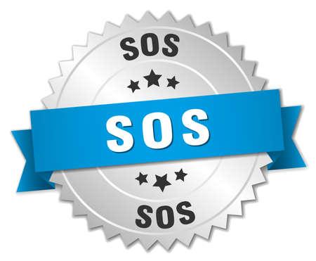 sos: sos 3d silver badge with blue ribbon