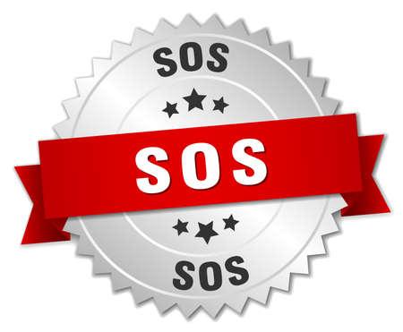 sos: sos 3d silver badge with red ribbon Illustration