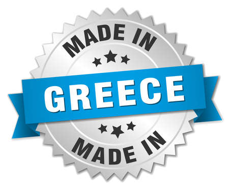 made in greece: made in Greece silver badge with blue ribbon Illustration