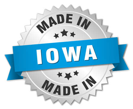 iowa: made in Iowa silver badge with blue ribbon