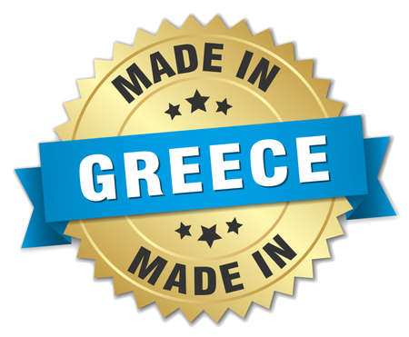 made in greece: made in Greece gold badge with blue ribbon Illustration