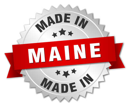 maine: made in Maine silver badge with red ribbon