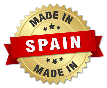 made in spain: made in Spain gold badge with red ribbon
