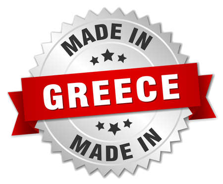 made in greece: made in Greece silver badge with red ribbon