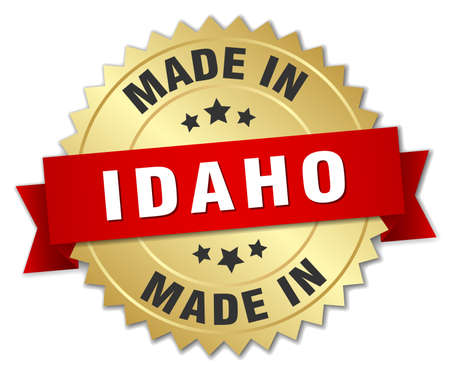 made in Idaho gold badge with red ribbon