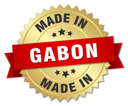 gabon: made in Gabon gold badge with red ribbon