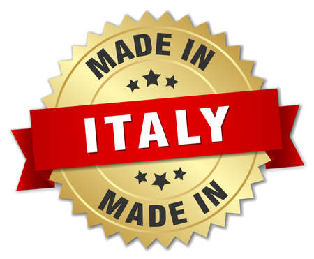 made in italy: made in Italy gold badge with red ribbon Illustration