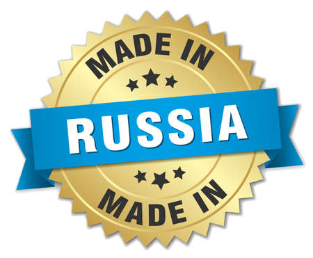 made russia: made in Russia gold badge with blue ribbon