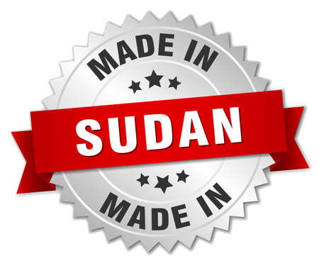 sudan: made in Sudan silver badge with red ribbon Illustration