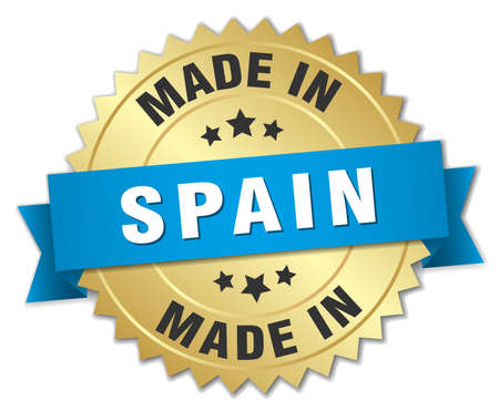 made in spain: made in Spain gold badge with blue ribbon