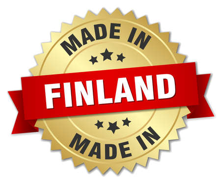 made in finland: made in Finland gold badge with red ribbon