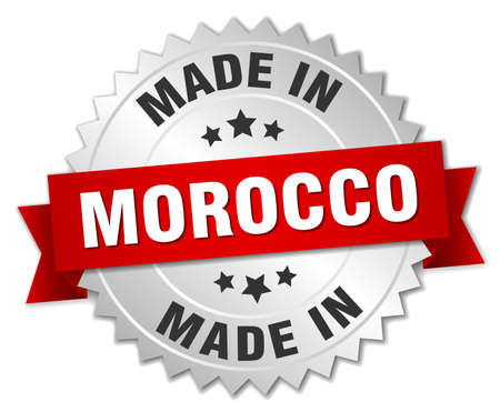 made in morocco: made in Morocco silver badge with red ribbon