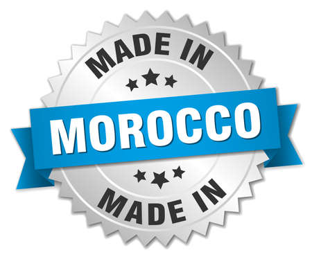 made in morocco: made in Morocco silver badge with blue ribbon Illustration