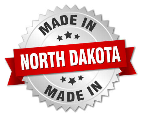 north dakota: made in North Dakota silver badge with red ribbon Illustration
