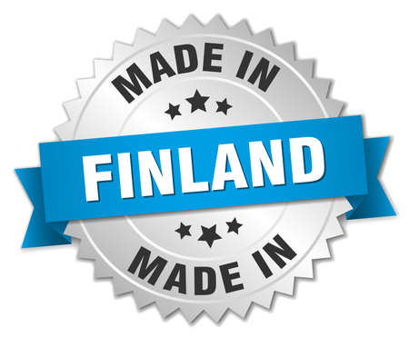 made in finland: made in Finland silver badge with blue ribbon Illustration