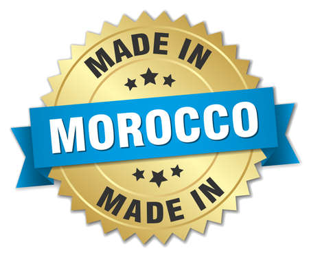 made in morocco: made in Morocco gold badge with blue ribbon