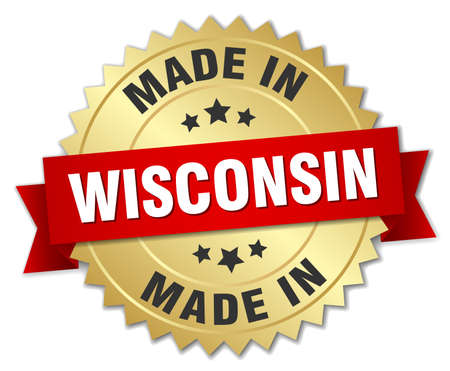 wisconsin: made in Wisconsin gold badge with red ribbon Illustration