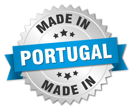 made in portugal: made in Portugal silver badge with blue ribbon