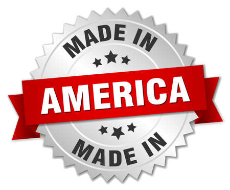 red america: made in America silver badge with red ribbon
