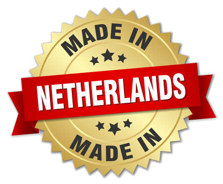 made in netherlands: made in Netherlands gold badge with red ribbon