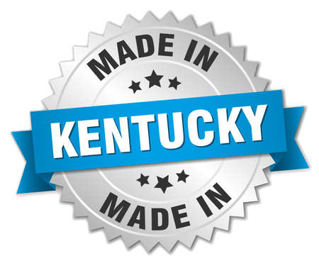 kentucky: made in Kentucky silver badge with blue ribbon