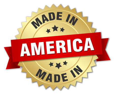 red america: made in America gold badge with red ribbon