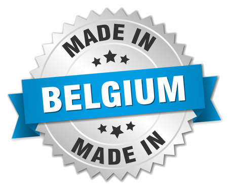 made in belgium: made in Belgium silver badge with blue ribbon Illustration