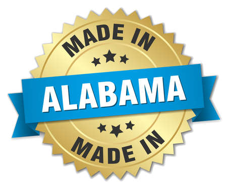 alabama: made in Alabama gold badge with blue ribbon