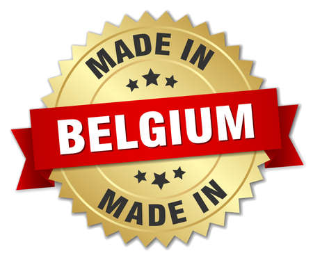 made in belgium: made in Belgium gold badge with red ribbon