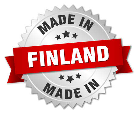 made in finland: made in Finland silver badge with red ribbon Illustration