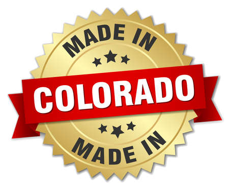 colorado: made in Colorado gold badge with red ribbon Illustration