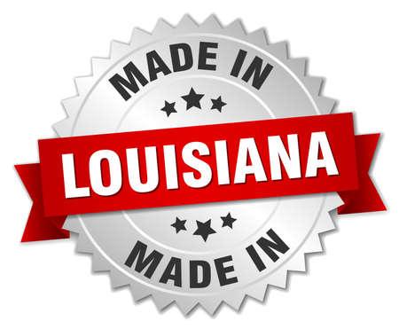 louisiana: made in Louisiana silver badge with red ribbon