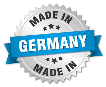 made in germany: made in Germany silver badge with blue ribbon Illustration