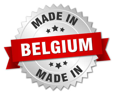 made in belgium: made in Belgium silver badge with red ribbon Illustration