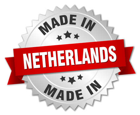made in netherlands: made in Netherlands silver badge with red ribbon Illustration