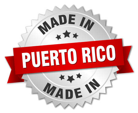 puerto rico: made in Puerto Rico silver badge with red ribbon Illustration