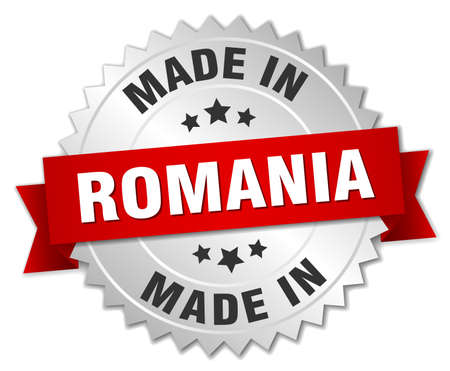 produced: made in Romania silver badge with red ribbon