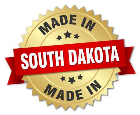 south dakota: made in South Dakota gold badge with red ribbon