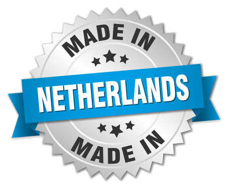 made in netherlands: made in Netherlands silver badge with blue ribbon