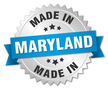 maryland: made in Maryland silver badge with blue ribbon