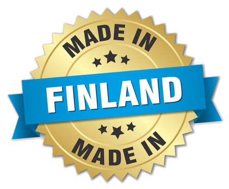 made in finland: made in Finland gold badge with blue ribbon Illustration