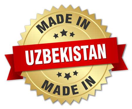 oezbekistan: made in Uzbekistan gold badge with red ribbon Stock Illustratie