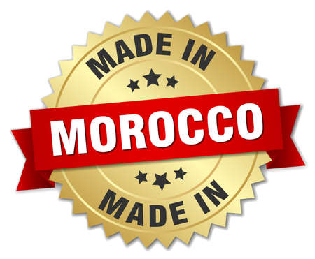 made in morocco: made in Morocco gold badge with red ribbon Illustration