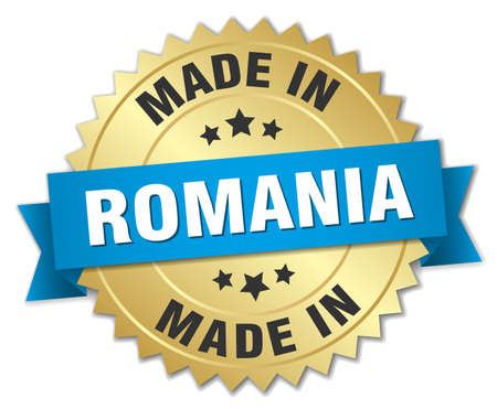 produced: made in Romania gold badge with blue ribbon