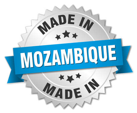 mozambique: made in Mozambique silver badge with blue ribbon