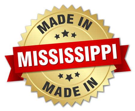 Hecho en Mississippi insignia de oro con cinta roja Foto de archivo - 45455660