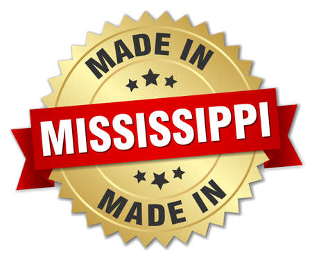made in Mississippi gold badge with red ribbon 向量圖像